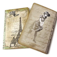 Paris Mini Journal, Travel Journal, Pocket Diary, Vintage Paris, Green, Eiffel Tower Notebook, Parisian, French Pocketbook, Paris Travel Log