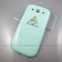 samsung galaxy S3 case,Harry Potter samsung i9300 Case,Deathly Hallows  samsung i9300 Hard Case,Mint Green and Pink