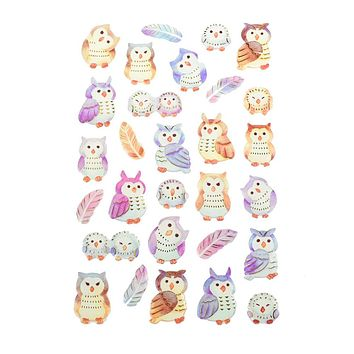Owl Foil Accented Watercolor Epoxy Stickers, 29-Piece
