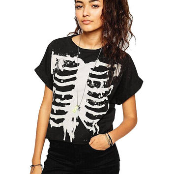 Black T-shirt With Skeleton Print