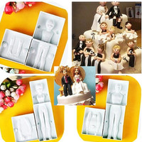 1 SET Three people's family 3D Human Woman Man Child Mold Cake fondant Decorating Sugar craft Modelling Tool