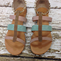 Multicolor suede chain link sandals