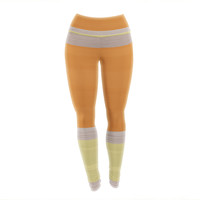 "KESS Original ""Spring Swatch - Tangerine Custard"" Orange Yellow Yoga Leggings"
