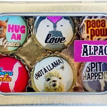 Alpaca Expressions Magnetic Bottle Caps Set
