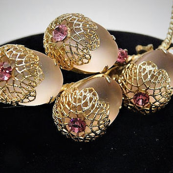 Vintage Pink Acorn Rhinestone Brooch Pink Frosted Glass Mid Century Wedding Bride Bridal Jewelry Cabochons Gold Filigree Caps