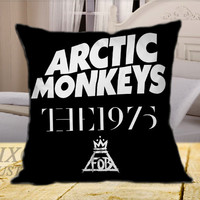 Arctic Monkeys the 1975 The Fall Out Boy Black on Square Pillow Cover 16 inch, 18 inch, 20 inch by FixCenters