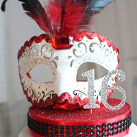 Masquerade White, Red and Black Sweet 16 cake topper (only one)