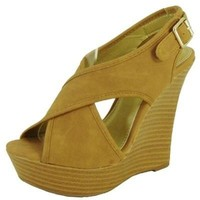 TAN CRISSCROSS BAND WEDGE @ KiwiLook fashion
