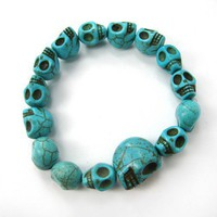 Turquoise Blue Colored Agate Bead Skull Skeleton Stretchy Bracelet