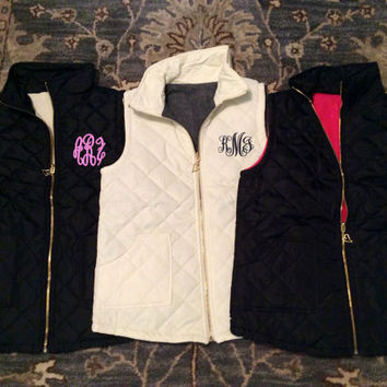 Ladies' Monogrammed Quilted Puffy Vest With Fleece Lining -- The Perfect Outerwear Option!  Rever