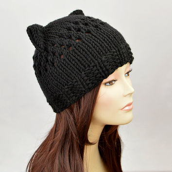 Black Cat Hat, Knit Cat Ear Hat or Cat Beanie, Womens Cat Hat or Mens Cat Hat | 9871