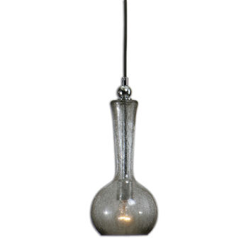 Uttermost 22016 Grigio Nickel One Light Mini Pendant with Smoky Crackle Glass