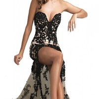 Sexy Strapless Black Lace Cocktail Bridesmaid Evening Party Prom Dress 09