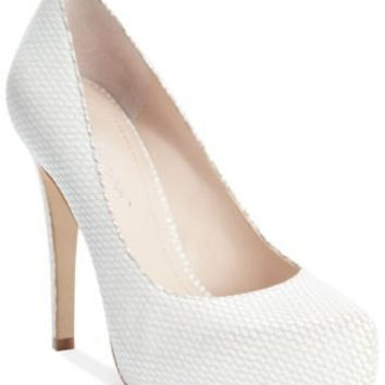 BCBGENERATION PARADE PLATFORM PUMPS WHITE SNAKE