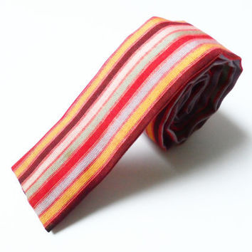 Vintage Skinny Flat End Tie, Hipster Narrow Square End Blue Red Yellow Black Woven Striped Retro Novelty 60s Mad Men Cotton Necktie