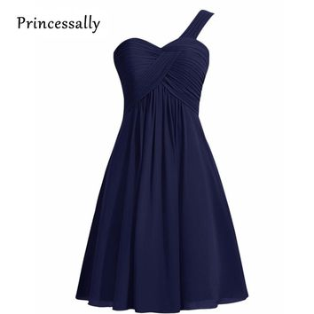 New arrival Navy Blue Bridesmaid Dresses A-Line 2017 One Shoulder Prom Dresses Formal Party Gown Lace Up Back Vestidos De Novia