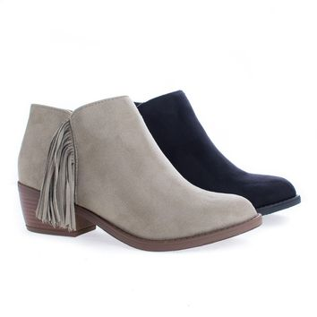 Doctor Clay By Soda, Women's Low Chunky Block Stack Heel w Side Fringe Detail