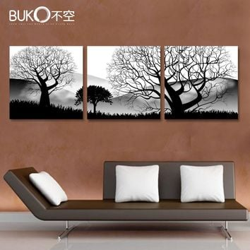 3 panel Black and white landscape tree Art canvas oil painting living room wall poster modular pictures cuadros home decoracion