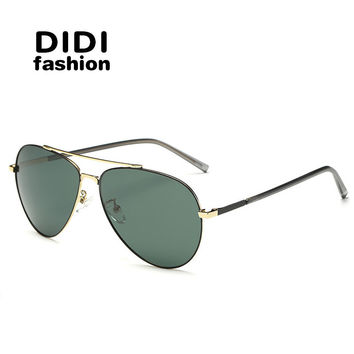 DIDI flat top women polarized sunglasses luxury brand man pilot goggle glasses military metal frame 8 color coating Oculos U678