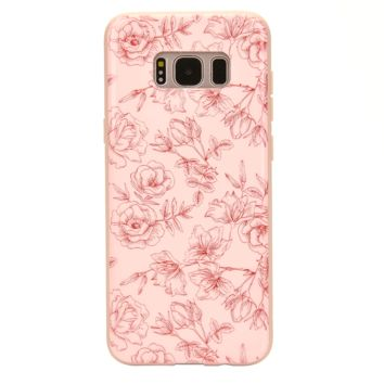Nude Red Chrome Floral Samsung Galaxy Case