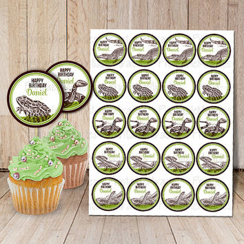"Reptile party decorations Printable reptile cupcake toppers Snake birthday party digital 2"" stickers / green brown"
