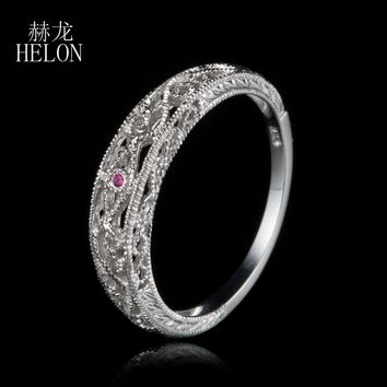 HELON Solid 10k White Gold Natural Pink sapphire Vintage Ring Filigree Art Nouveau Antique Wedding Ring For Women's Jewelry