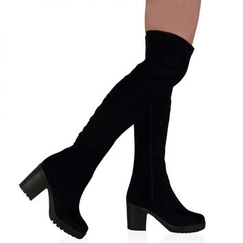 Melissa Black Suede Over The Knee Boots