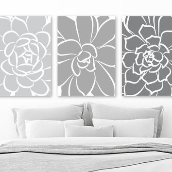 Flower Wall Art, Succulent Flowers, GRAY Ombre CANVAS or Prints Artwork, Gray Bedroom Decor, Gray Bathroom Decor, Set of 3 Floral Pictures