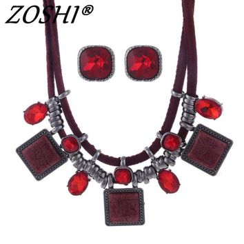 Africa Resin Gems Leather Necklace Earrings Set-Multiple Colors