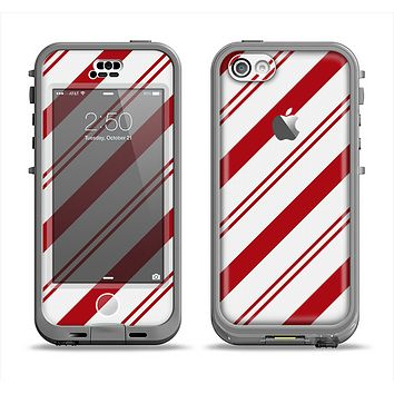 The Red and White Slanted Vector Stripes Apple iPhone 5c LifeProof Nuud Case Skin Set