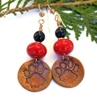 Dog Rescue Paw Print Earrings Handmade Red Lampwork Black Onyx Jewelry