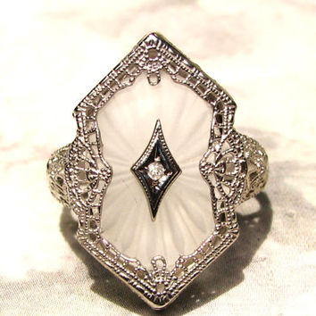 Antique Camphor Glass Ring 10K White Gold Filigree Art Deco Ring Diamond Accent Esemco Ring Unique Vintage Engagement Ring Size 6
