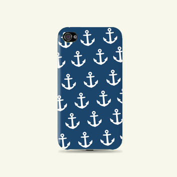 White & Deep Blue Lovely Anchor pattern Plastic white Hard Case - iphone 5 - iphone 4 - iphone 4s - Samsung S3 - Samsung S4 - Samsung Note 2