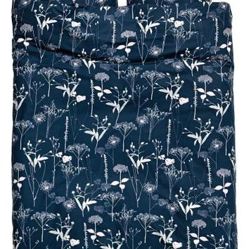 Patterned duvet cover set - Dark blue/Floral - Home All | H&M GB