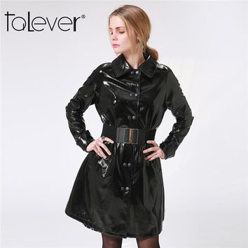 2018 Women PU Leather Trench Coat Autumn Winter Black Sexy Long Coats Slim Fit Windbreakers Casual Plus Size Outerwear Talever