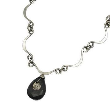 Silver Plated Necklace With Moss Agate