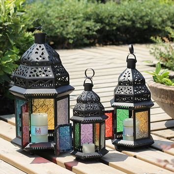 Moroccan Style Metal Castle Votive Candle Tea Light Holder Holder Candlestick Hanging Lantern Home Centerpieces