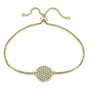 Gold Tone over Sterling Silver Cubic Zirconia Circle Charm Adjustable  Bracelet f2678235a