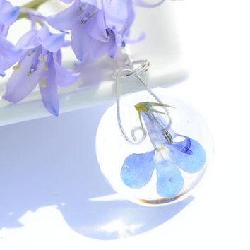 Resin pendant real flower necklace- sky blue white dried pressed lobelia flower floral jewelry medicinal plant unusual jewelry natural eco