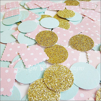 Party Confetti, Gold Glitter, Pink and Mint, Shabby Chic Wedding, Baby Shower Decoration, Girl's Birthday, Bridal Table Scatter, 300 Pieces