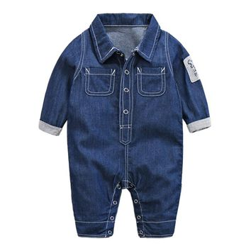 Trendy spring 2017 baby denim jumpsuit Europe style denim jacket for baby boys clothes , 0-18M one - pieces denim overalls for boy AT_94_13
