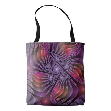 Colorful Fantasy Abstract Modern Purple Fractal Tote Bag