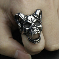 Drop Ship Size 7-13 Evil Damn Skull Vampire Goat Ring 316L Stainless Steel Man Boy Band Party Bull Skull Ring