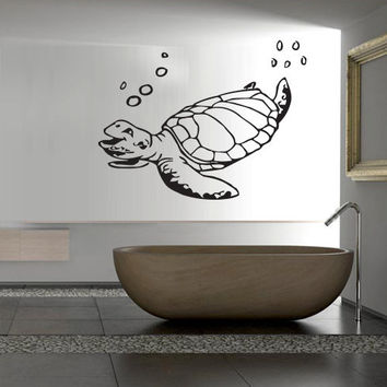 Wall decal decor decals art turtle sea ocean animal swimming shell bathroom water (m627)