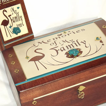 Memories of My FAMILY. GENEALOGY. Real Wood Lock box. With a matching pocket notebook. Memory box. Rosewood & Cream. Can be personalised