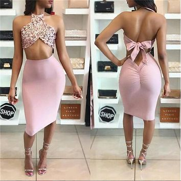 BKLD 2017 Rose Gold Sequin Bandage Women Sets 2 Piece Skirt Suits Crop Tops&Skirt Sexy Backless Sequined Halter Neck Women Suits