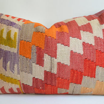 Sukan / Organic Shine Society Modern Bohemian Throw Pillow. Handwoven Wool Vintage Tribal Turkish Kilim Pillow Cover- 24x16 inch