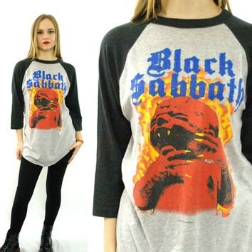 Vintage 80s BLACK SABBATH Born Again Tour 1983 Raglan 3/4 Sleeve Jersey 50/50 T Shirt Sz L