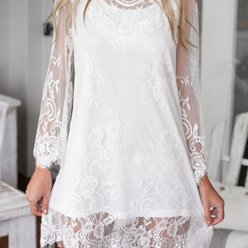 Sheer Mesh Angel Sleeves Lace Embroidered Dress