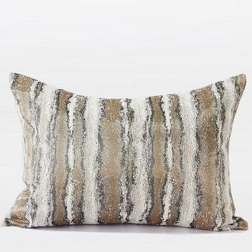 "Light Gold Mix Color Stripe Pattern Metallic Chenille Pillow 14""X20"""